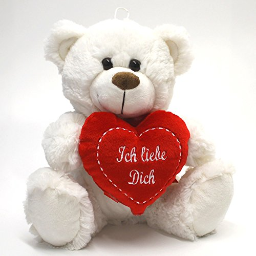 Teddybär weißer Plüschbär Herz Teddy Bär Ich liebe Dich 25 cm Eisbär