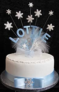 Cake Toppers Birthday Uk : Personalised  Frozen  Snowflake Birthday Cake Topper With ...