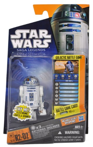 Buy Low Price Hasbro Star Wars Year 2010 Saga Legends Galactic Battle Game Series 2-1/2 inch Tall Action Figure – SL14 R2-D2 with Electronic Light and Sounds, Battle Game Card, Die and Figure Display Base Plus Bonus Secret Weapons (B004FTKGYW)