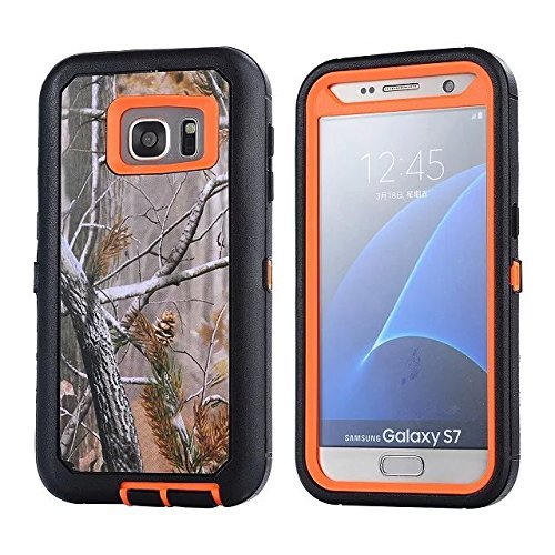 For Samsung Galaxy S7 Case - FiversTM Heavy Duty Case 3 in 1 Three Advantages Waterproof Dustproof Shakeproof with Forest Camouflage Desig Cell Phone Cases for Samsung Galaxy S7 Tree- Orange