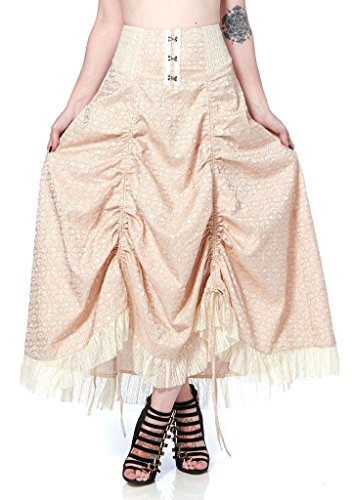 Womens-Jawbreaker-Steampunk-Brocade-Adjustable-Hemline-Skirt-Cream