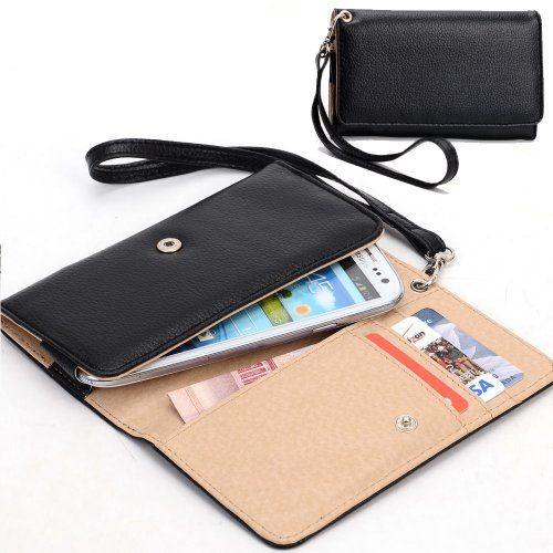 Exxist® Classic Design Patent Leather Wallet / Clutch For Acer Liquid E2 Duo V370 (Color: Black) -Esmxwlk1