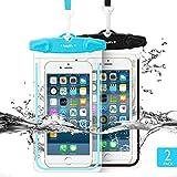 Easylife [2本セット] 防水ケース スマホ用防水ポーチ 防水等級IPX8 高感度PVCタッチスクリーン 夜間発光 お風呂 温泉 潜水 5.5インチまでのiPhoneとAndroidスマホに対応可能 (Black+Blue)