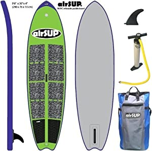 "airSUP 9'6""x30""x4"" Inflatable SUP 15psi Stand Up Paddleboard, Roll It up and Store in the Bag! GREEN from airSUP"