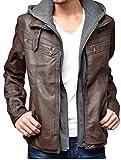 レザージャケット メンズ 大きいサイズ フード付き ライダースジャケット 3L キャメル(52)