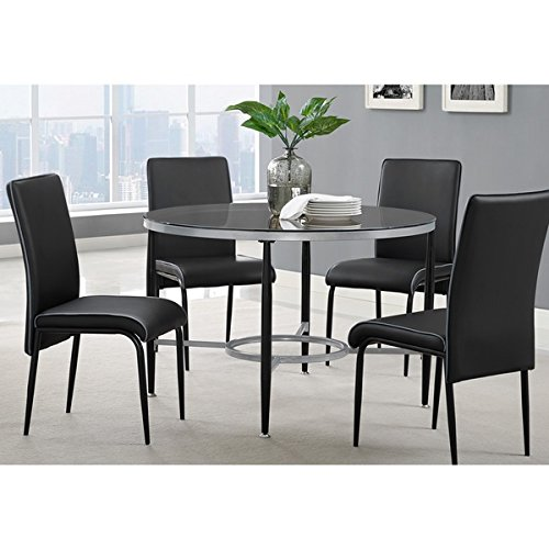 Athena Black Metal Glass Round Dining Table, 45 inches long x 45 inches wide x 29.5 inches high (Countertop Table Sets compare prices)