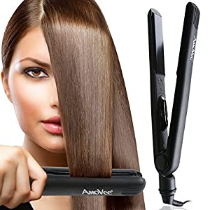 """[Save 50%, Discount ends by 11 June] AmoVee® Professional Flat Iron with Ceramic Plates 1 Inch, 1"""" Ceramic Hair Straightener with Dual Voltage Auto Shut Off 265 to 450F - Black"""