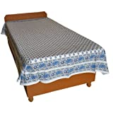 Block Printed Floral Bagru Print Design Cotton Flat Single Bed Sheet - B00GSSP08U