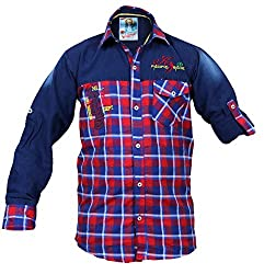 CAY 100% Cotton Red Color Designer Checks Shirt (Size:S)