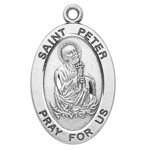 Sterling Silver Oval Medal Necklace Patron Saint St. Peter with 20