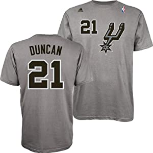 San Antonio Spurs Adidas NBA Tim Duncan #21 Alternate Name & Number T-Shirt L by adidas