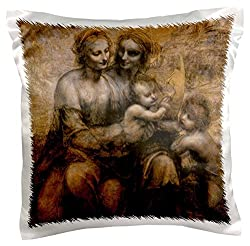 3dRose pc_126654_1 Virgin And Child with St Anne And St Jude x Leonardo Da Vinci 1499 Pillow Case, 16 x 16