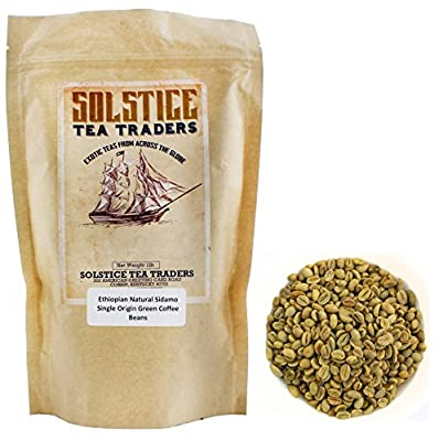 Ethiopian Natural Sidamo Single Origin Green Coffee Beans, One Pound from Solstice Tea Traders