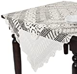 SARO LIFESTYLE 869 Crochet Tablecloths, 45-Inch, Square, White