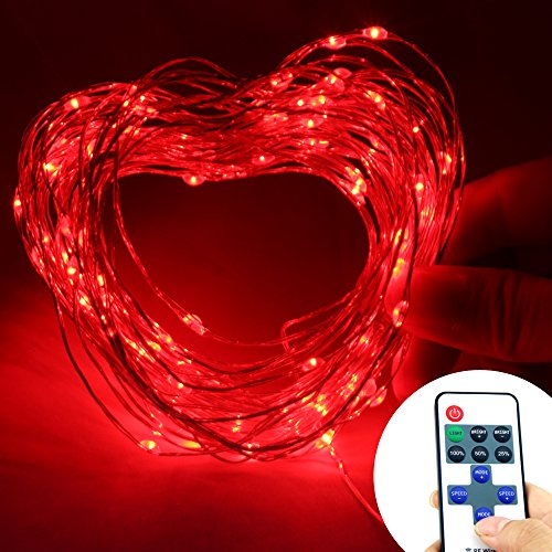 Nexscene Starry Durable Dc Silver Coating 10M/33Ft Copper Wire Flexible Lights 100 Led For Wedding Christmas Party Holiday With 12V Power Adapter Wireless Remote Control Mini Dimmer (Red)