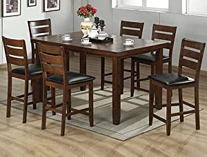 cherry finish solid wood counter height dining set furniture decor