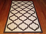 3'x5' Patio Indoor Outdoor Rug Beige Brown Trellis Deck Pool Patio Rug