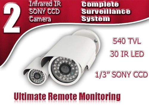 Evertech Cctv Gold Series Infrared Security Camera - Pack of 2 - 30 Ir LED (82ft Night Vision) Cctv Camera, 1/3 Inch Sony Super HAD Ccd, 540 Tv Line High Resolution 3.6mm Lens, Indoor/outdoor Bullet Surveillance Camera.