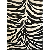 Modern Rug Sculpted Zebra Print 5 Ft. 2 In. X 7 Ft. 3 In. Design # S245 Black