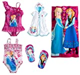 Disney Store Frozen Swim Set: 2 Swimsuits/Cover-Up/Flip-Flops/Towel Size Small