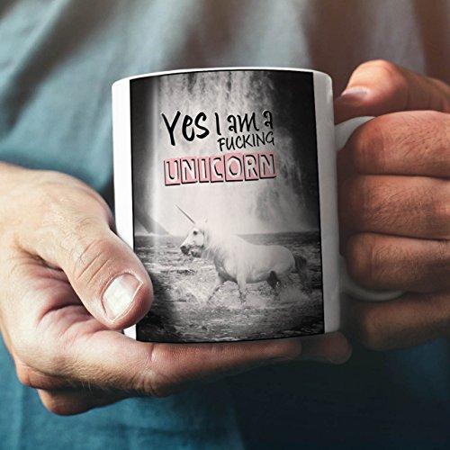 Oui-Je-suis-UNE-Licorne-Amusement-Mythe-NOUVEAU-Blanc-Th-Caf-Cramique-Tasse-11-oz-Wellcoda