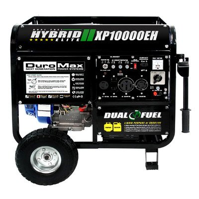 DuroMax DuroMax XP10000EH 18HP Dual Fuel Propane/Gas Powered Portable Electric Start Generator, 10000-watt