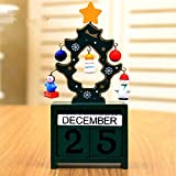 URToys 1Pcs Red/Green/White Creative Christmas Tree With Manually Small Pendants Wooden Calendar Countdown Block Clock Desk Crafts Home Furnishing Ornaments Countdown Best New Years Christmas Gifts (Color: Green)