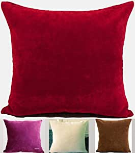 Amazon.com: ElleWeiDeco Solid Firebrick Red Chenille Throw Pillow Cover: Home & Kitchen