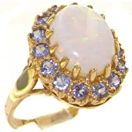 Luxurious Solid 9K Yellow Gold Natural Opal & Tanzanite Womens Cluster Ring – Finger Sizes 4 to 12…