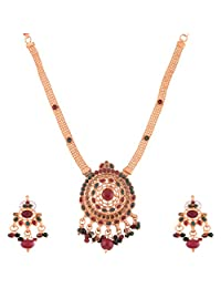 Ganapathy Gems Gold Plated Necklace Set With Ruby Red And Green Stones And Multi Drops - B00XJJ6LE8