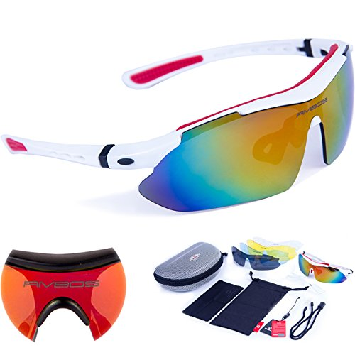 RIVBOS 806 POLARIZED Sports Sunglasses with 5 Set Interchangeable Lenses for Cycling (White)
