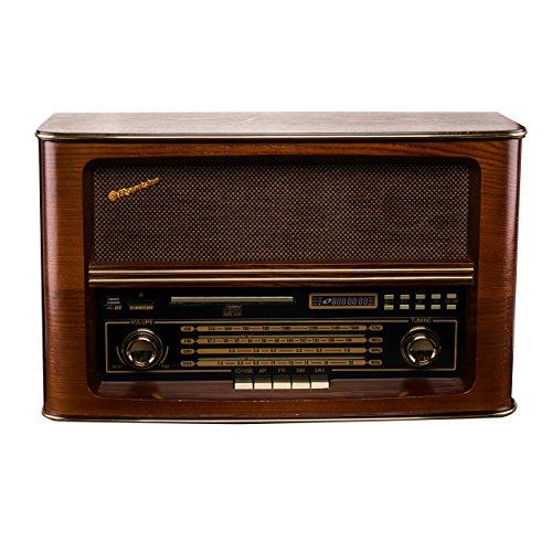 First Austria 001907-1 Retroradio AM/FM mit Zwei Lautsprecher braun