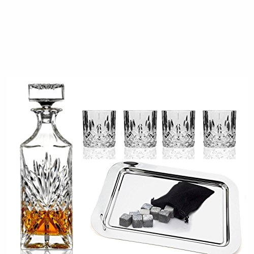 Godinger Silver Art Dublin Collection Crystal Whiskey Bourbon Bar Set With 1 Decanter, 6 Dof Glasses, 12 Granite Whiskey Stone Cubes And 1 Rectangular Silver Plated Tray (Crystal Bourbon Glasses compare prices)