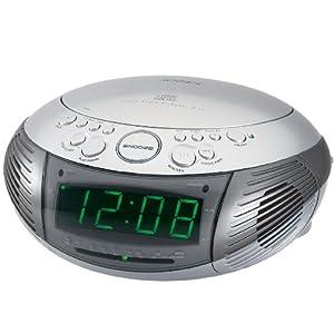 jensen jcr 332 am fm dual alarm clock radio with top loading cd player silver. Black Bedroom Furniture Sets. Home Design Ideas