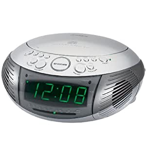 Jensen AM/FM Dual Alarm Clock Radio with Top Loading CD Player - JCR-332 (Silver) (Discontinued by Manufacturer)