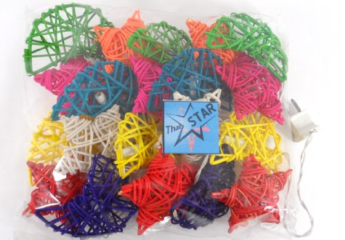Thai Led Fairy String Light Rattan Star &Moon Mix Color 20 Balls For Party, Wedding, Christmas Tree And New Year Day # 18 / 1 Set