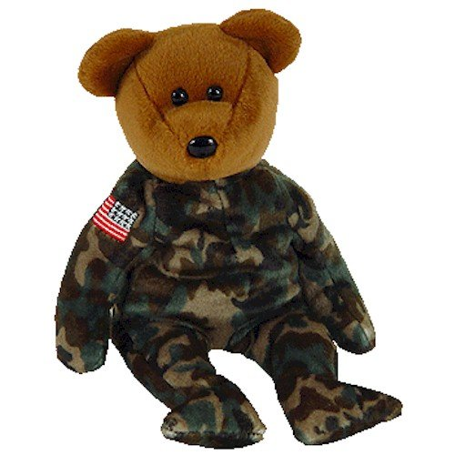 TY Beanie Baby - HERO the USO Military Bear (w/ US Reversed Flag on Arm)