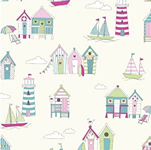 Beach hut houses summer 100 cotton print lifestyle for Childrens curtain fabric by the metre