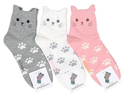 Women's Cool Animal Fun Crazy Socks (Cute Cat 3 Pairs)