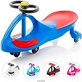 EIGHTBIT Swivel Car Rolling Ride On Car - Indoor / Outdoor - Blue Streak Blue/Red