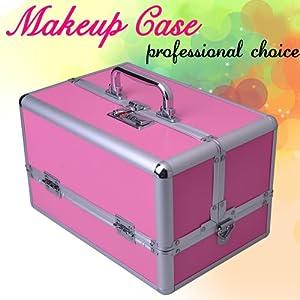 Makeup Cosmetic Train Case Aluminum Box Pink Key Lock Jewelry Artist Beauty Bag from MEGA BRAND