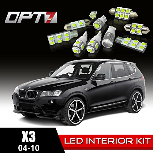Opt7 16Pc Interior Led Replacement Light Bulbs Package Set For 04-10 Bmw X3 Canbus | White