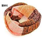 UTOKY韓国版 秋冬レディース 厚く暖かいトライカラーステッチヒットカラーウールスカーフ ビブスカーフ (赤)