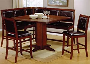 6pc Counter Height Dining Table & Stools Set Dark Brown Finish