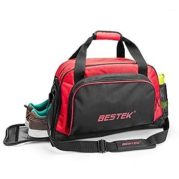 BESTEK® Gym Bag Sports Bag Shoulder Duffle Bag Handle Bag Short Travel Luggage Bag with Separate Shoes Compartment
