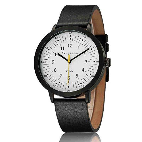 Bergmann Brand Men'S Quartz Watch Round Black Case Genuine Leather 1966