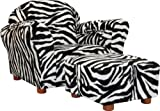 Fantasy Furniture Roundy Chair with Ottoman, Zebra