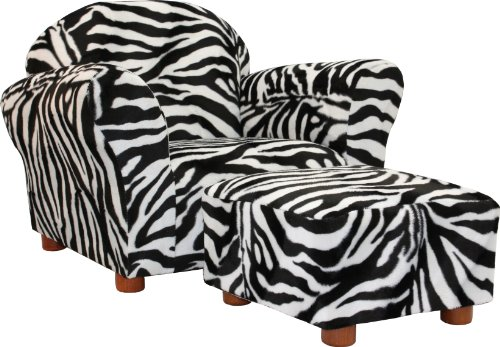 Fantasy Furniture Roundy Chair  Ottoman, Zebra