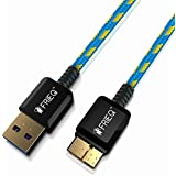 FRiEQ® Hi-Speed Extra Long (6 Ft/1.8m) Nylon Braided Tangle-Free USB 3.0 Male To Micro B Data Cable with Gold-Plated Connectors for Samsung Galaxy Note 3 / Samsung Galaxy S5 (Light Blue/Yellow)