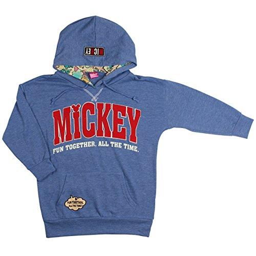 ミッキーマウス パーカー プルオーバー 裏毛 フード総柄[43836] 150cm ブルー